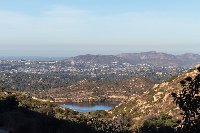 Lake Poway and the city of Poway from the Mount Woodson Trail