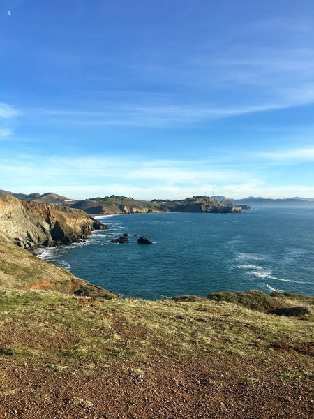 Tennessee Point Trail end looking south back towards Rodeo beach.