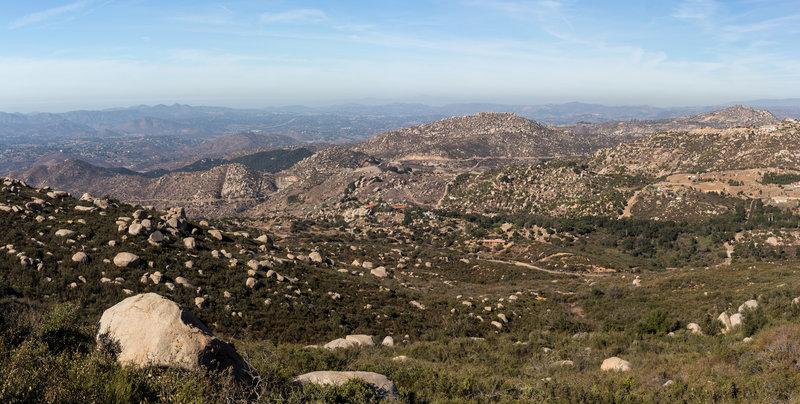 Northwest facing panorama towards Lake Ramona from the Fry Koegel Trail
