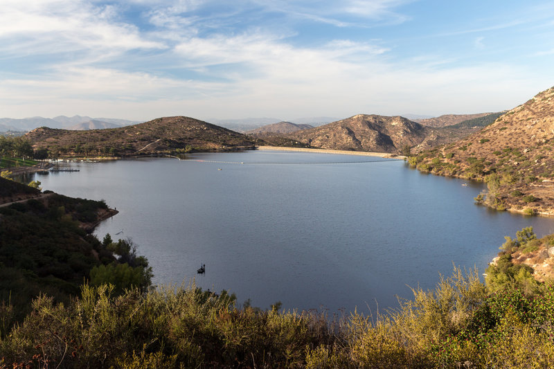 Lake Poway during the late afternoon from the lookout at the south of the lake