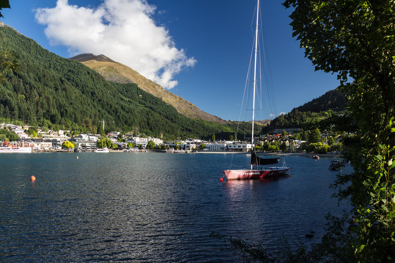 Queenstown and its beach and harbor from the Queenstown Gardens