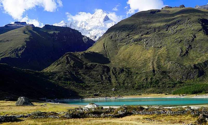 Laguna Keushu en route to the Ice of Huandoy, the lowest ice in the Cordillera Blanca.