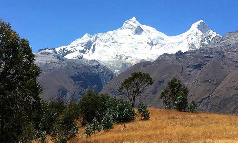 View of Huandoy peaks 6395m/20981ft from Atma viewpoint.