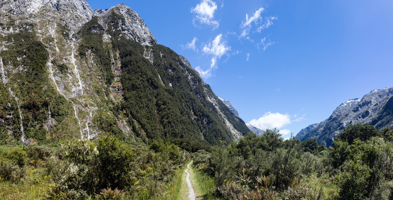 Milford Track in the upper Clinton Valley with its numerous waterfalls only flowing after rain