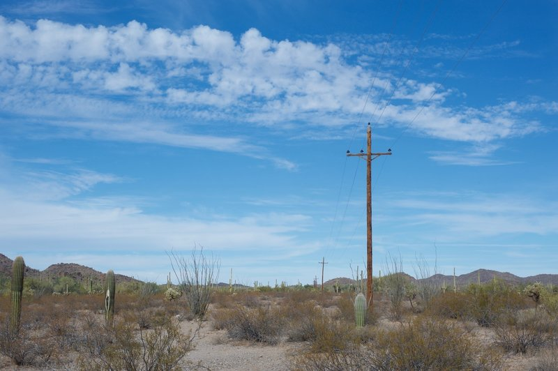 The power line corridor, which is open to hiking and horseback riding, intersects the Palo Verde at this point and heads North and South through the monument.