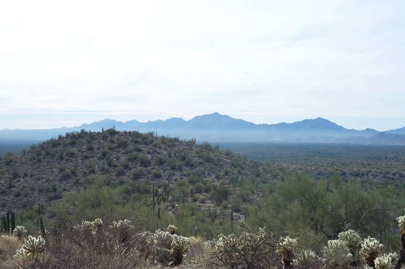 As you reach the top of the hill, views of the surrounding mountains spread out before you.   Here you can see the Cubabi Mountains in Mexico to the South.