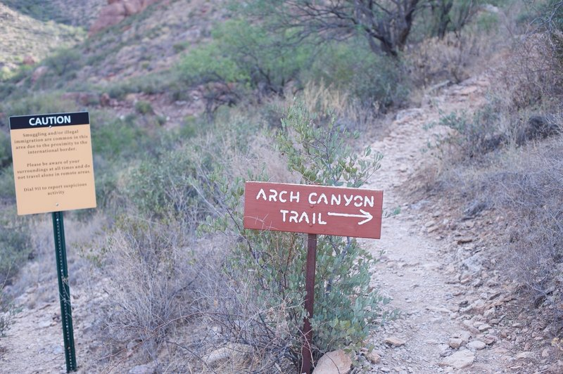 The well maintained trail ends near here.  After this, an unmaintained trail begins to climb more steeply up to the arch.