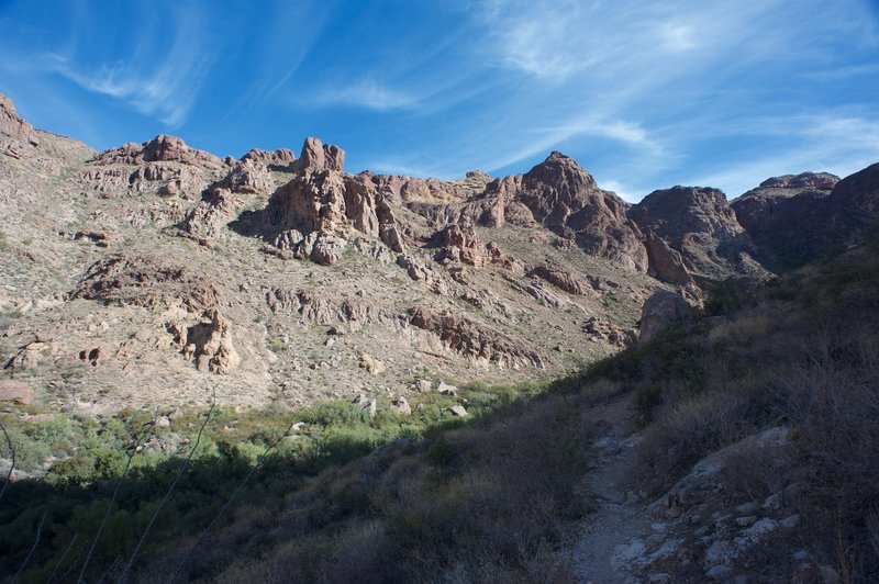 You get some amazing views of the surrounding mountains from the trail inside the canyon.