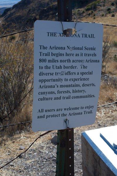 The beginning of the Arizona Trail starts here.