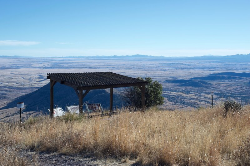 At the peak, there is a shelter with a couple information signs about the Coronado Expedition, the history of the people in the area, and animals that call the area home.