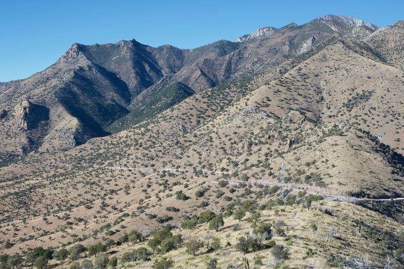 As West Montezuma Canyon Road crosses the ridge, you can see the parking lot at gap where the road crosses.   There are mountains everywhere you look!