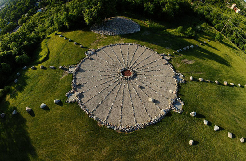 An aerial view of the Medicine Wheel in Valley City