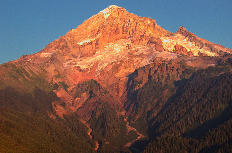 Alpenglow on the Sandy Glacier on the west side of Mt. Hood. Headwaters of the Muddy Fork of the Sandy River.
