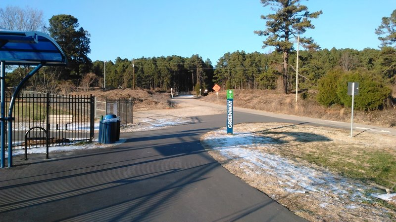 Trailhead for Cary Greenway at Old Reedy Creek Road