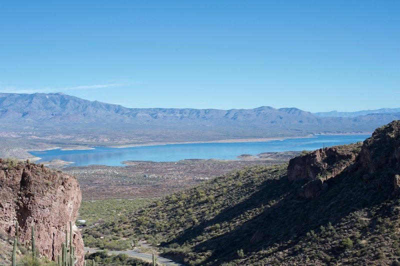 The view of Theodore Roosevelt Lake from the trail.