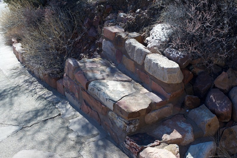 Benches sit along the trail providing a place to relax as you head uphill.