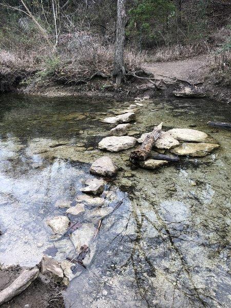 Rock steps for creek crossing.