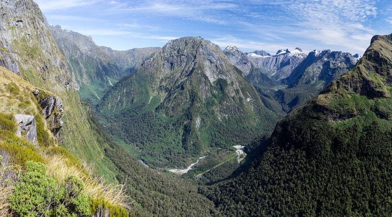 Mount Pillans and Arthur Valley from the Mackinnon Pass overlook. You can see Quinton Lodge at the bottom of the valley