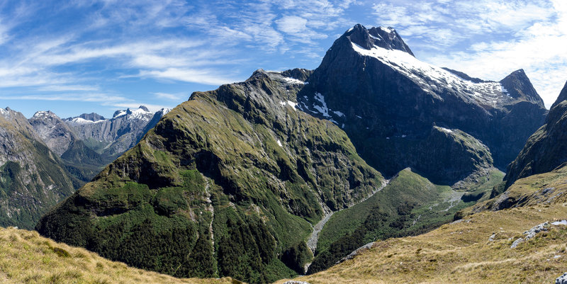 Mount Elliot, Mount Wilmur, and the Jervois Glacier on the ascent to the Mackinnon Pass Shelter.