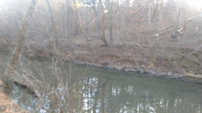 View of Eno River from a handmade wooden bench