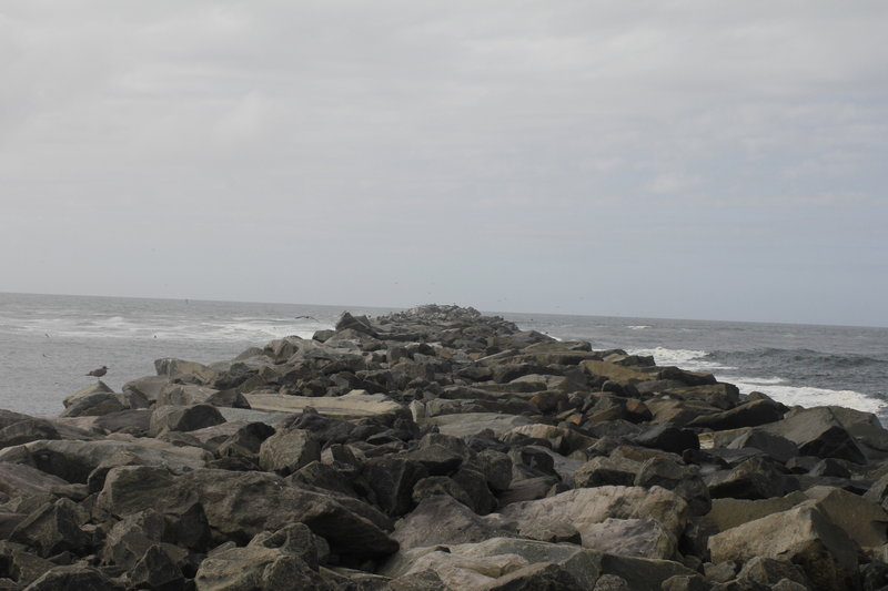 Looking W towards the ocean, as you can see the jetty becomes much rougher and then tappers of into the water.
