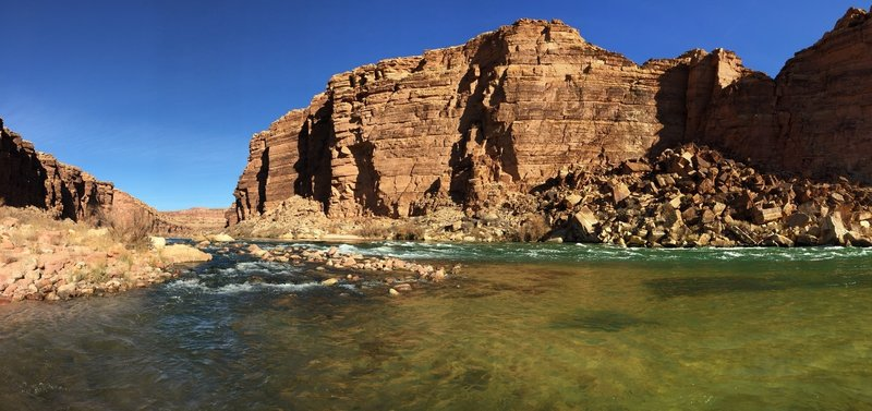 At the end of the Cathedral Wash it opens up to the Colorado River...great place to have lunch!