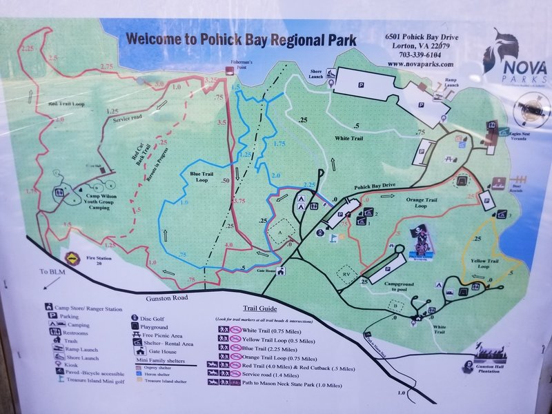 Map of Pohick Bay Park Trails