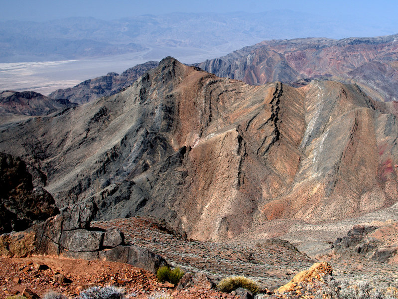 Contorted strata from the summit of Corkscrew.