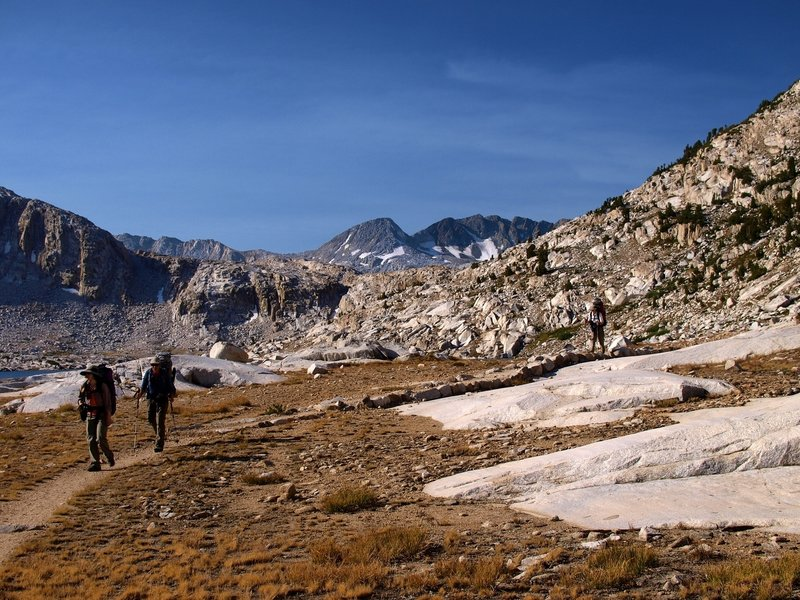 Hiking along the JMT in Evolution Basin.