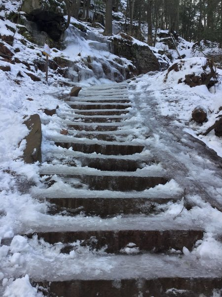 In winter, icy, slippery trail.
