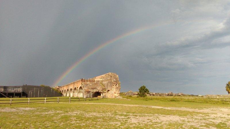 Rainbow over destroyed bastion.