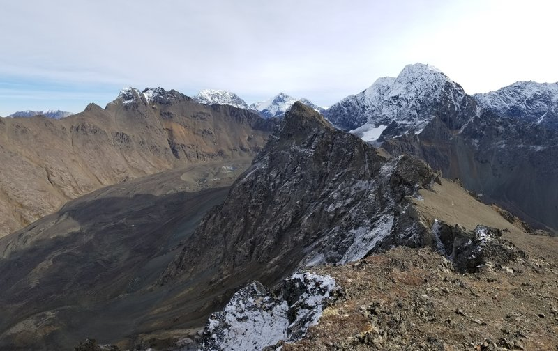 View of the summit from a prominent false peak.