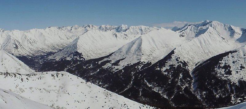 Ridge view looking east toward the Bird Glacier peaks.