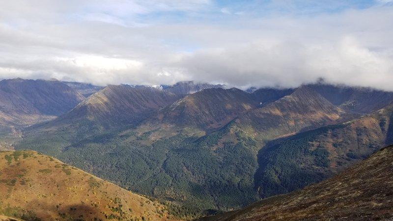 Fall ridge view looking east toward the Bird Glacier peaks.