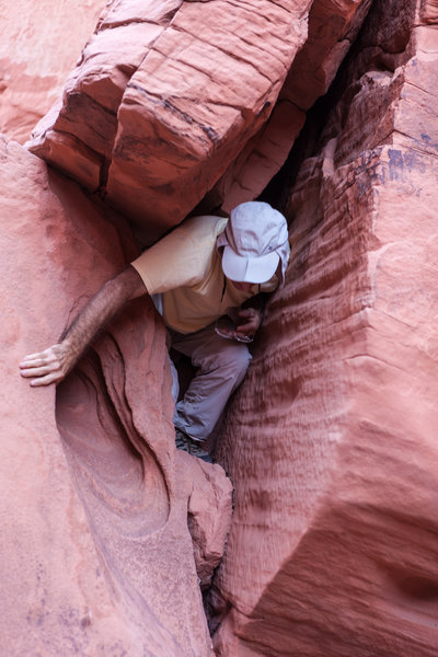 Scrambling between the boulders