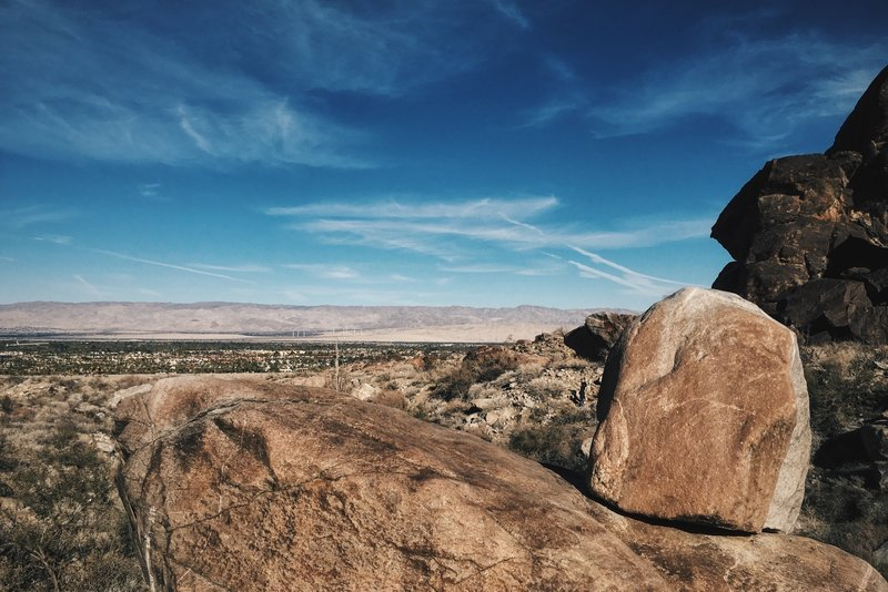 Looking back into Palm Springs from Tahquitz Canyon.