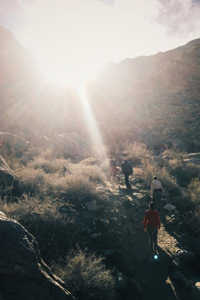 Traveling up the rocky singletrack in Tahquitz Canyon.