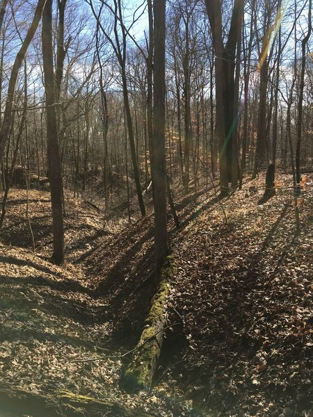 Looking down ravine between two mounds
