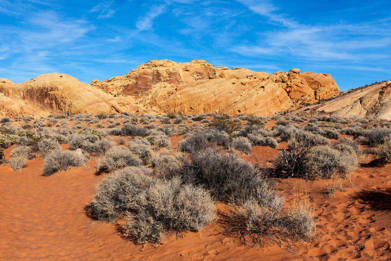 Open desert surrounded by red and beige sandstone hills.