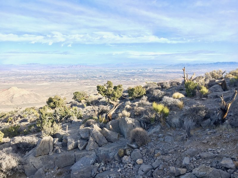 Las Vegas can be seen as we head toward the summit.