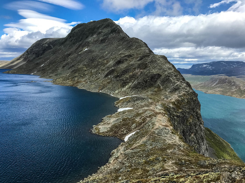 Looking back at Besseggen ridge. We hiked from the peak down the ridge because we were doing a full loop through Jotunheimen National Park.  This ridge was definitely the highlight.  Most take the ferry do the other way.