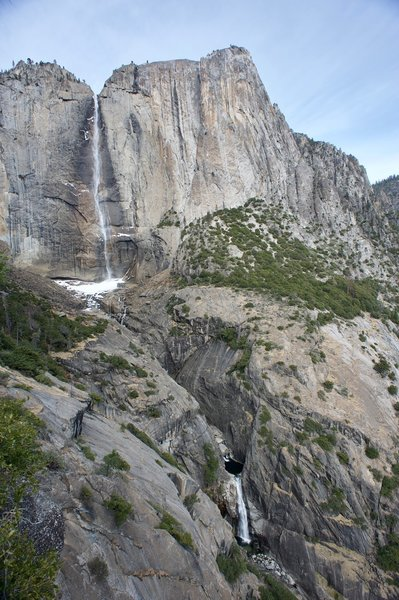 From Oh My Gosh Rock, you get a full view of Yosemite Falls. Here you can see Upper Yosemite Falls and the Middle Cascades.