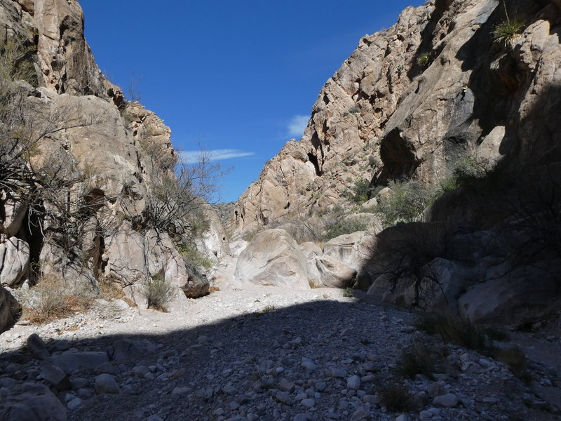 Passing through a small canyon with a little shade.