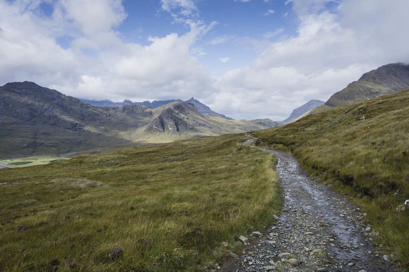 The descent from Am Mam Pass into Camasunary on the Atlantic Ocean with the Cuillin Hills as the backdrop is simply magnificent