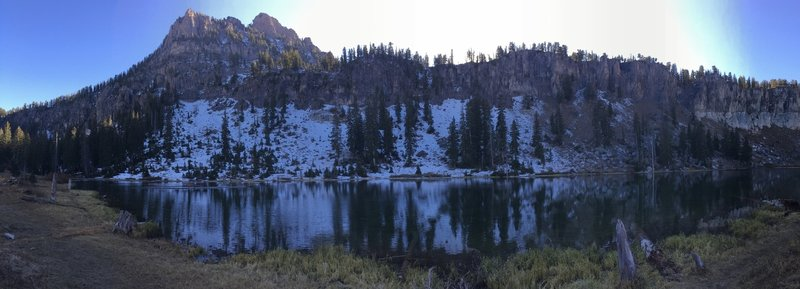 Panorama of White Pine Lake with Mt. Magog in the background, evening time.