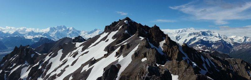 Ridge view looking north at Bonanza Peak (middle), Mt. Blackburn (left), and Regal Mountain (right)
