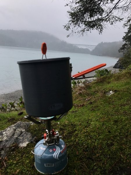 Boiling water on a misty day, at Deception Pass.