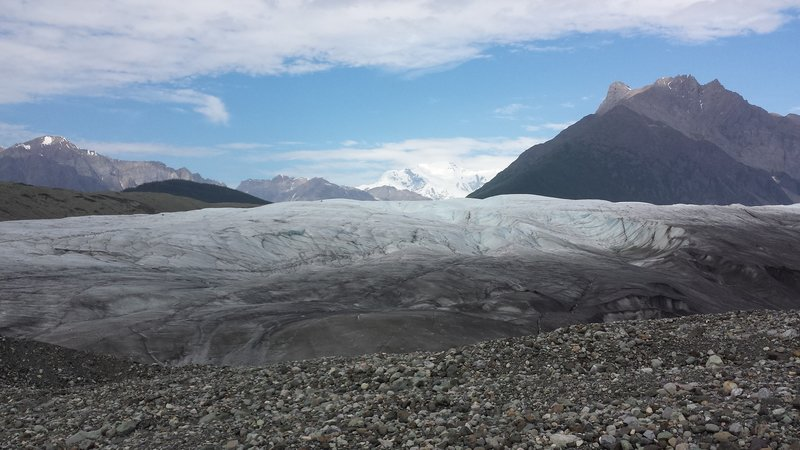 Root Glacier access taken in 2014.  Mt. Blackburn is the snow-capped mountain.
