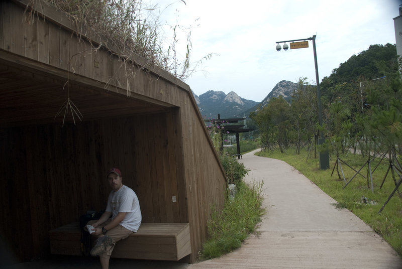 Taking a snack break in a well appointed bunker with Bukhansan in the background