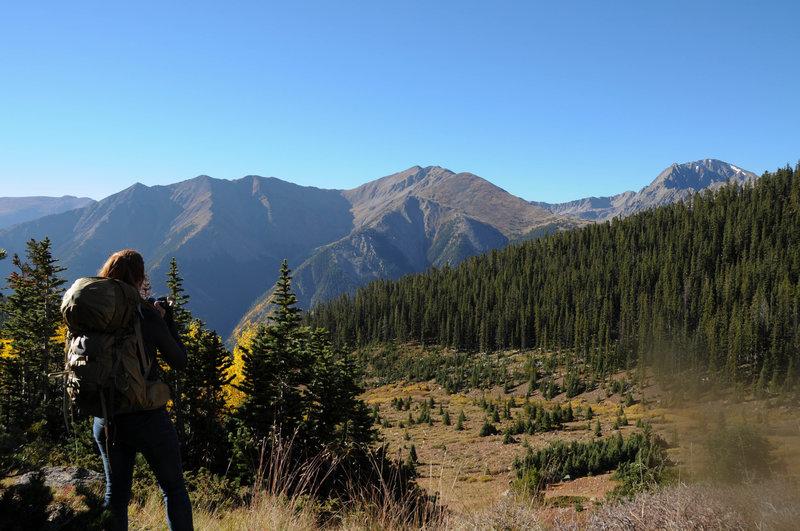 Looking back down the valley towards La Plata Peak